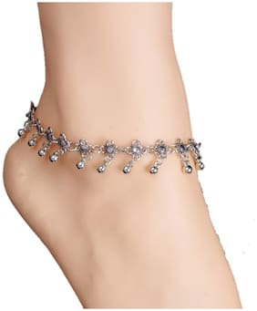 OOMPH Jewellery Antique Silver Bohemian Fashion Anklet For Women & Girls