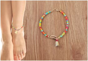 OOMPH Jewellery Pink  Handmade Beads Sea Shell Fashion Charm Anklet for Women & Girls