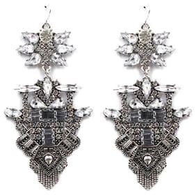 OOMPH Jewellery Antique Silver Crystal Studded Chandelier Drop Earrings For Women & Girls