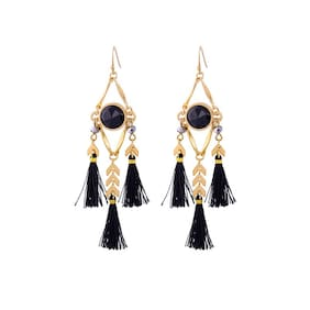 OOMPH Jewellery Black Multi Layer Tassel with Crystal Elongated Drop Earrings For Women & Girls True Tassel Collection