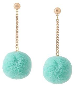 OOMPH Light Blue Pom Pom Drop Earrings For Women & Girls