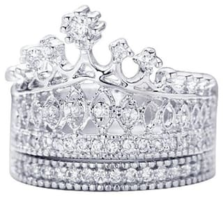 OOMPH Silver Crystal Crown Setting Love Engagement Ring Set for Women & Girls