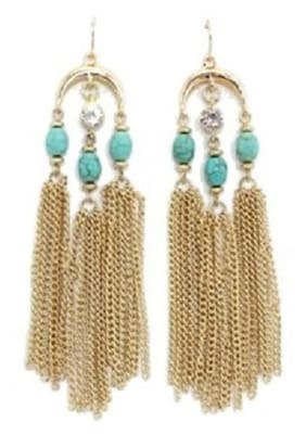 "OOMPH Turquoise Natural Stone & Tassels Chandelier Fashion Drop Earrings for Women & Girls ""True Tassel Collection"""