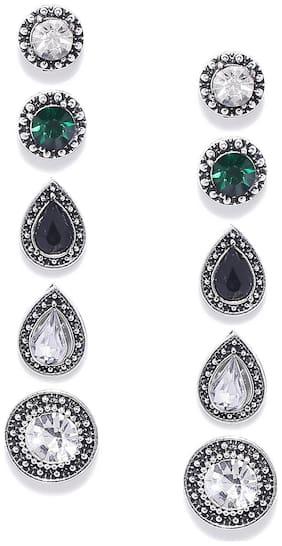 Oomph Women Oxidised Silver Oxidised Style Earring