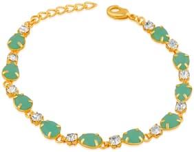 Oviya Gold Plated Festive Jewelry  Designer Green Crystal Link Bracelet for Girls and Women BR2100359G