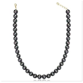 Oviya Black Queen Artificial Pearl Necklace For Women Nl2109613G