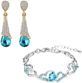 Oviya Combo of Alluring Blue Heart Link Bracelet and Drop Earrings with Crystal Stones CO2104686M