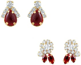 Mahi Christmas Special Combo Of Ruby Red Ear Studs For Women Co1104329G
