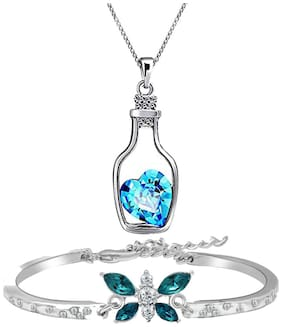 Oviya Valentines Special Combo of Infinite Love Blue Bracelet and Bottle Love Pendant with Crystal Stones CO2104690R