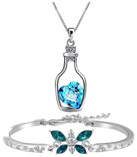 Oviya Combo of Infinite Love Blue Bracelet and Bottle Love Pendant with Crystal Stones CO2104690R