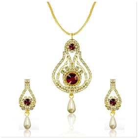 Mahi Diwali Fashion Gold Plated Pendant Set With Crystal For Women Nl4101014G