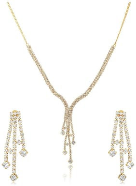 Oviya Gold Plated Festive Jewelry  White Rain Drops Necklace Set With Crystals For Women Nl4101111G