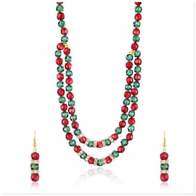 Mahi Christmas Special Festive Jewelry Gold Plated Festive Jewelry  Red Green Beady Set With Crystals For Women Nl4101029G