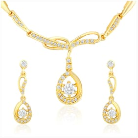 Mahi Gold Plated Necklace Set with Crystal Stone for Women NL2103063G