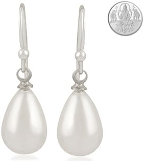 Oviya Rhodium Plated Glittering Tear drop shaped Artificial Pearl Fish Hook Earrings with 1 gram pure Silver Coin for girls and women ER2109462R