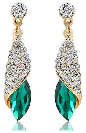 Oviya Gold Alloy Endearing Drop Earrings with Crystal Stones for Women ER2109439GGre