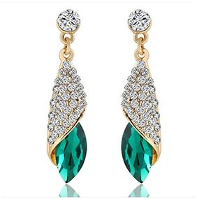 Oviya Gold Plated Endearing Drop Earrings with Crystal Stones ER2109439GGre