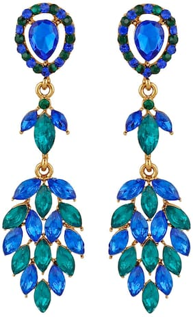 Oviya Gold Plated Marquise Shaped Multicolour Alloy Crystals Dangler Earrings for Women