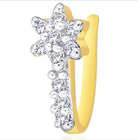 Oviya Gold Plated Floral Nose Pin with CZ for Women NR1100154G