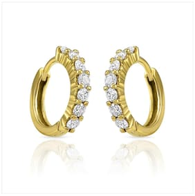 Oviya Gold Plated Festive Jewelry  Hoop Bali Earrings of Brass Alloy with CZ for Women ER7202337G