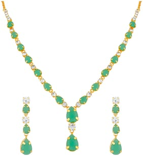 Oviya Gold Plated Gleaming Green Crystal Necklace Set for Girls and Women NL2103745GGre