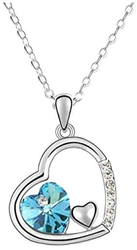 Oviya Rhodium Plated Valentine Collection Eternal Love Triple Heart Crystal Pendant PS2193698RBlu