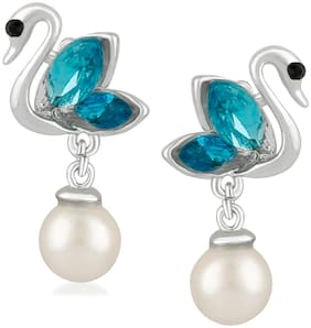 Oviya Exquisite Blue Crystal Duck Earrings with white beads for girls and women ER2109568R