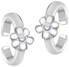 Oviya Rhodium Plated Delicate Flower Toe Rings with Crystal Stones for girls and women TR2101007RWhi