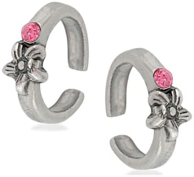 Oviya Rhodium Plated Floral Love Antique Toe Ring pair with Crystal Stone for girls and women TR2101014RPin