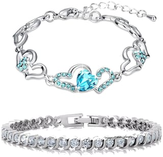 Mahi Valentines Gift of Lovely Heart Link Love Bracelets with Crystal Stones CO2104702R
