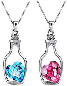 Oviya Valentines Special Combo of Solitaire Pink and Blue Crystal Heart Bottle Pendant for Women CO2104710RBluPin