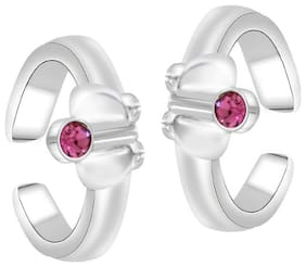 Oviya Rhodium Plated Dazzling Pink Solitaire Toe Rings with Crystal Stones for girls and women TR2101010RPin