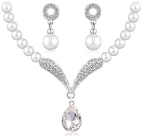 Oviya Rhodium Plated Mesmerising Pearl Necklace Set with Crystal Stones NL2103697R