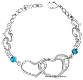 Mahi Valentines special  Dual Heart Link Bracelet with Crystal stones for girls and women BR2100300RBlu