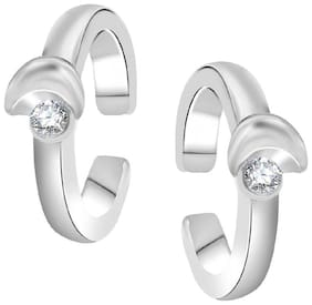 Mahi Rhodium Plated Elegant Toe Rings with Crystal Stones for girls and women TR2101002RWhi