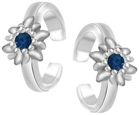 Mahi Rhodium Plated Floral Love Toe Ring with Crystal Stones TR2101003RBlu