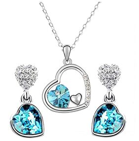 Oviya Rhodium Plated Valentine Collection Eternal Love Triple Heart Crystal Pendant set NL2103698RBlu