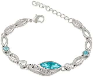 Mahi Rhodium Plated Marquise Solitaire Crystal Adjustable Bracelet for girls and women BR1100323RBluWhi