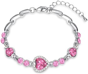 Oviya Valentines Special Magical Love Heart Bracelet with Pink Crystal Stones BR2100340RPin
