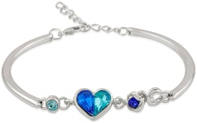 Oviya Rhodium Plated Dual Tone Crystal Adjustable Heart Bracelet for girls and women BR1100322RBlu