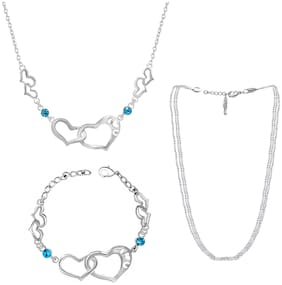 Oviya Valentines Gift Combo of Dual Heart Link Necklace;Multilayer Chain and Bracelet for Women CO2104840R