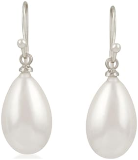 Oviya Rhodium Plated Delicate Tear Drop Artificial Pearl Fish Hook party wear Earrings for girls and women ER2109466R