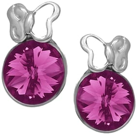 Oviya Rhodium Plated Exclusive Purple Solitaire Butterfly Earrings with Crystal Stones ER2193692RPur