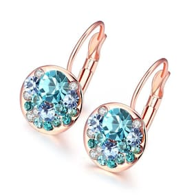 Oviya Christmas Special Rosegold Plated Valentine Collection Lovely Blue Crystal Clip on Dangle Earrings ER2109443Z