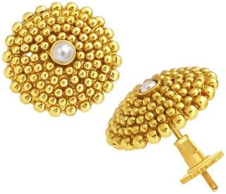 Mahi Gold Plated Festive Jewelry  Stud Earrings with Pearl for Women ER2109596GWhi