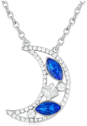 Oviya Valantine Gift Crescent moon shaped Blue and White Crystal Pendant for Girls and Women PS2101638RBluWhi