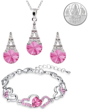 Oviya Valentine Gift Combo of Lovely Heart Link Bracelet and Eiffel Tower Pendant set with Pink Crystals & 1 gram pure Silver Coin for women CO2104888R