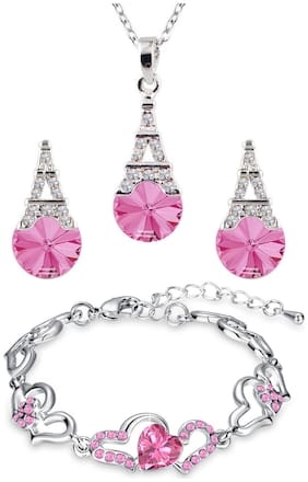 Oviya Valentines special Gift Combo of Lovely Heart Link Bracelet and Eiffel Tower Pendant Set with Pink Crystals for Women CO2104888R
