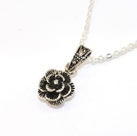 Oxidized Plumeria Filigree Drop Pendant with Cable Chain 925 Sterling Silver