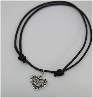 Oxidized silver heart charm adjustable knot black thread single anklet